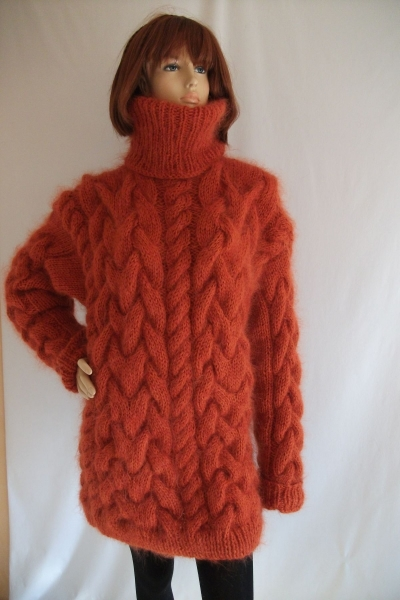 thick chunky cable knitted mohair merino turtleneck