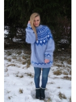 Icelandic crewneck mohair sweater light blue-unisex-L