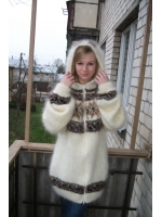 Icelandic longhair mohair sweater with hood and zipper cream