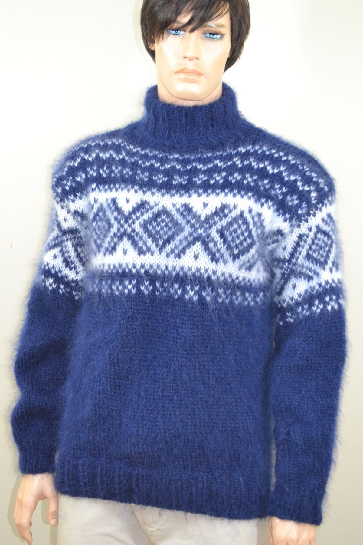 Hand knitted mohair navy blue Norwegian sweater.