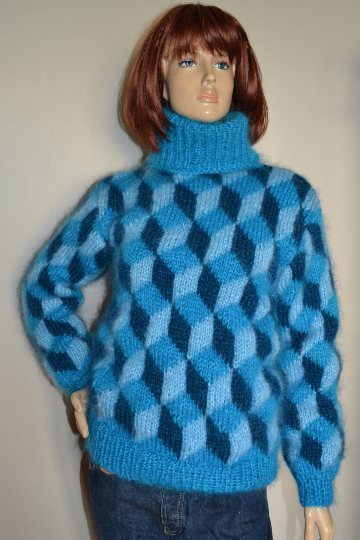 Hand knitted mohair turquoise sweater with tumbling blocks S