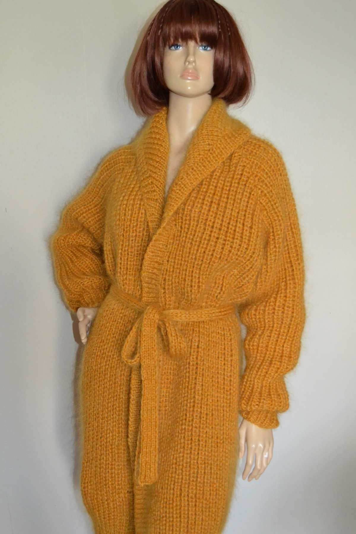 Hand knitted mohair and wool shawl neck cardigan coat with belt