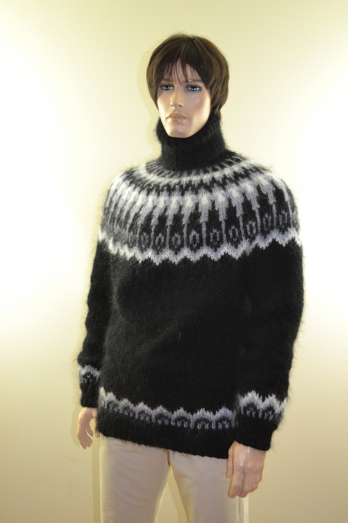 Black mohair Icelandic turtleneck sweater