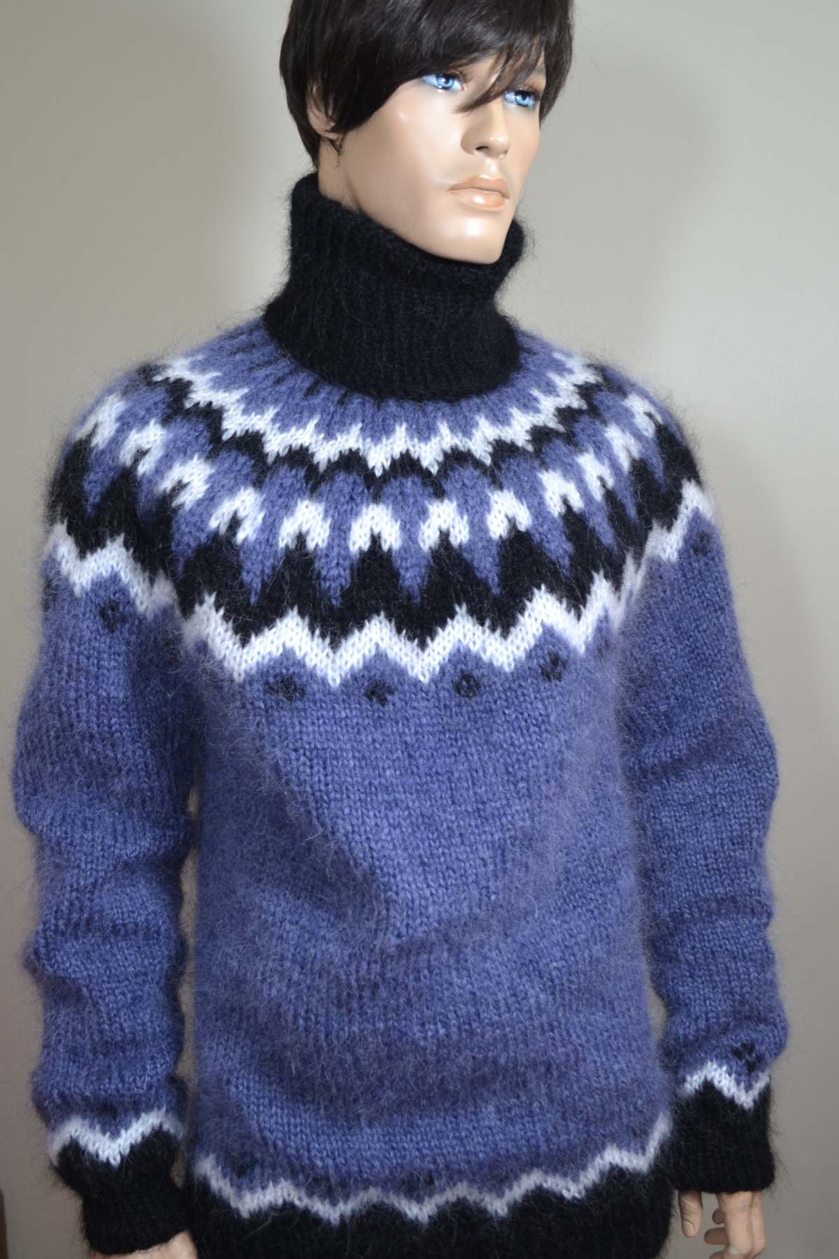 Icelandic  mohair sweater blue -XL