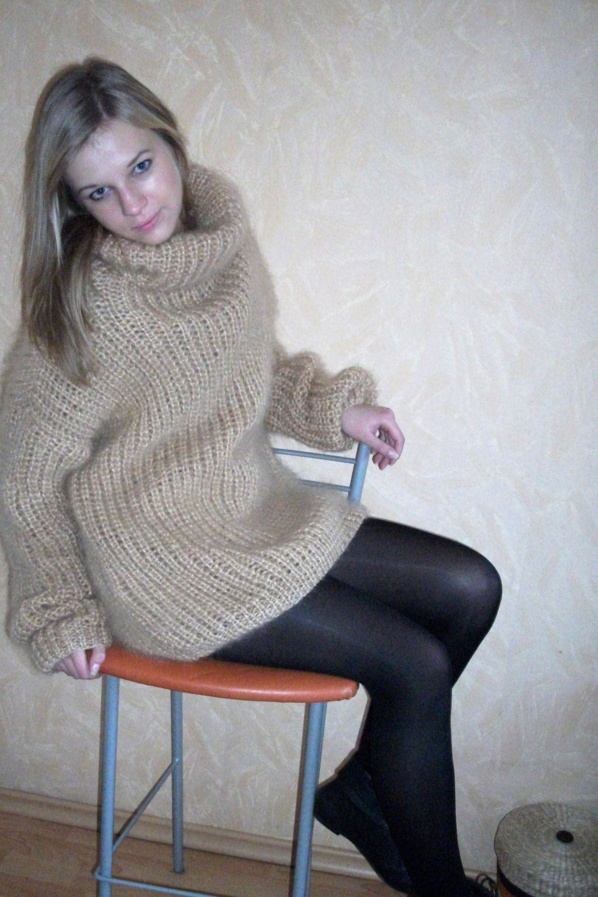 Mohair Turtleneck Sweater Oversized Beige Www