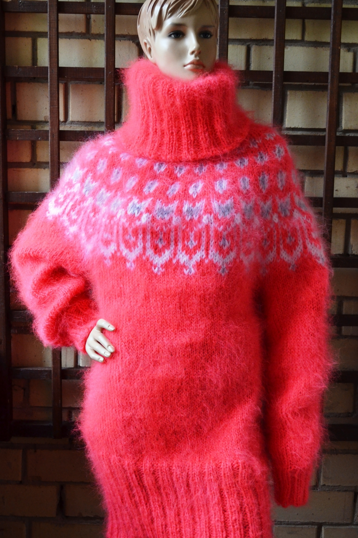 fd3f81c1072 Icelandic mohair sweater dress neon coral -One size - www ...