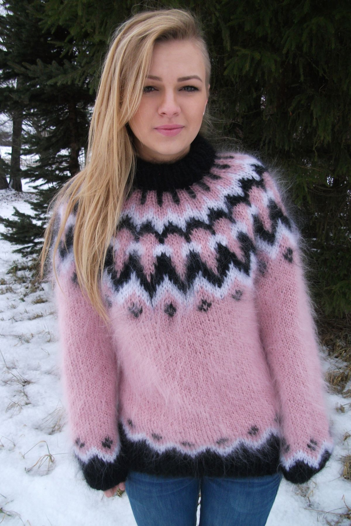 Icelandic mohair crewneck sweater pink -M-L - www