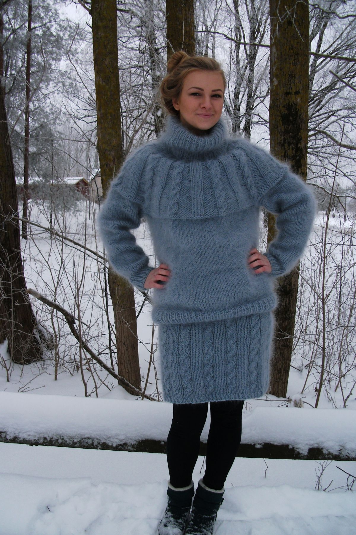 Popular THICK MOHAIR AND WOOL SKIRT - TURTLENECK SWEATER- SUIT LIGHT GRE  GD48