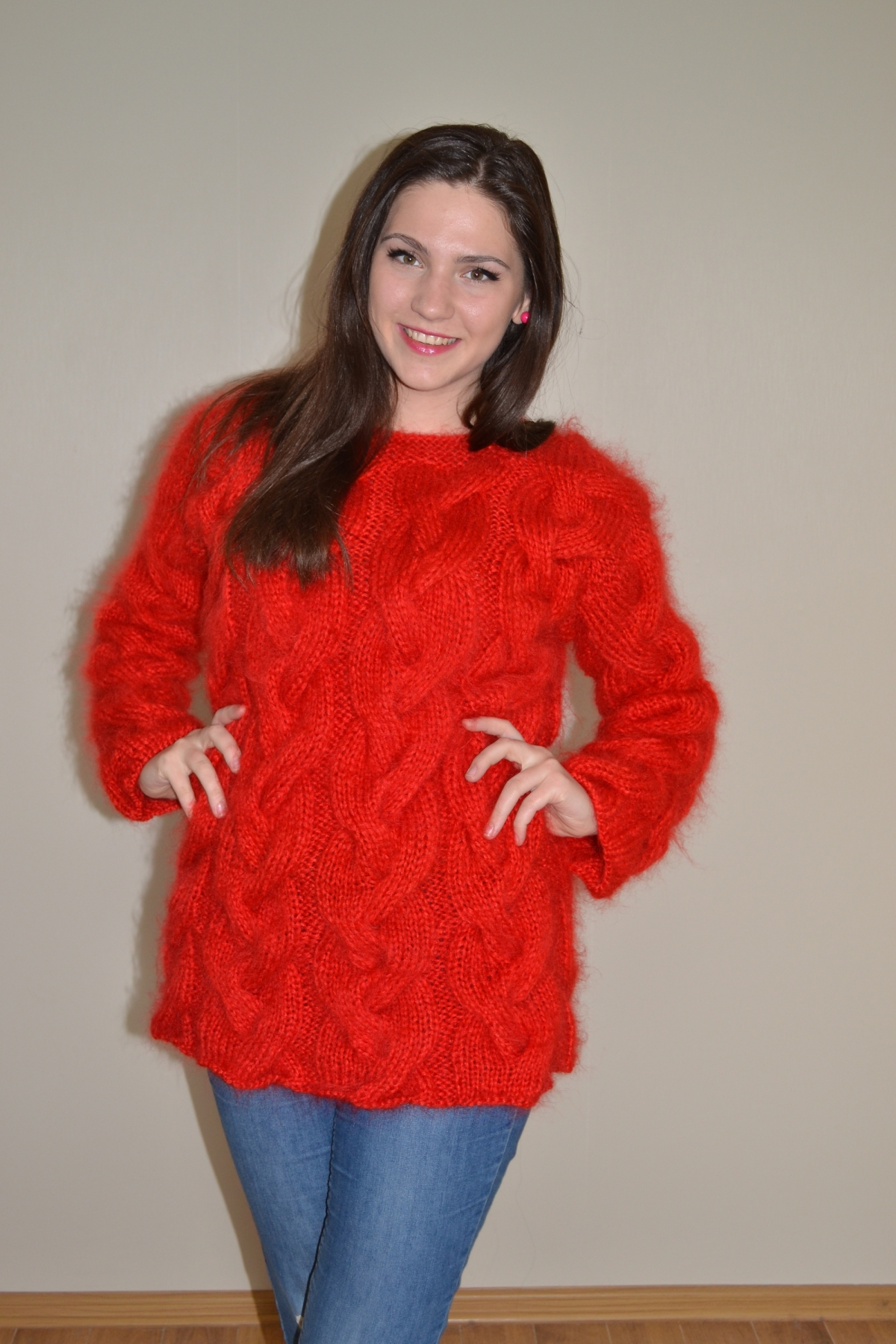 Thick Cable Knitted Mohair Sweater Hot Red Www
