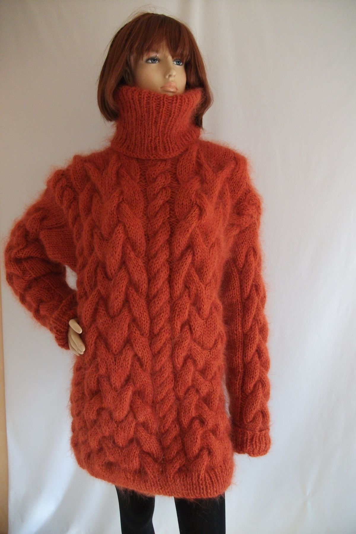 Thick Chunky cable knitted Mohair Merino turtleneck sweater Scar ...
