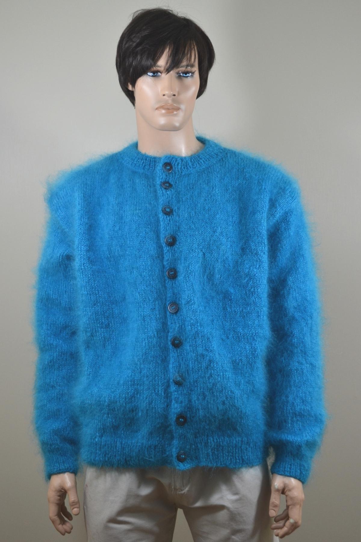 Thin mohair turquoise Vienna mohair cardigan - www.mohairmagic.com