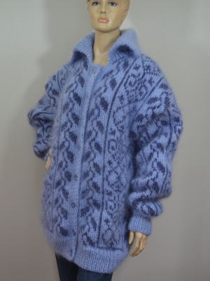 Fair Isle hand knitted mohair cardigan coat silver blue unisex