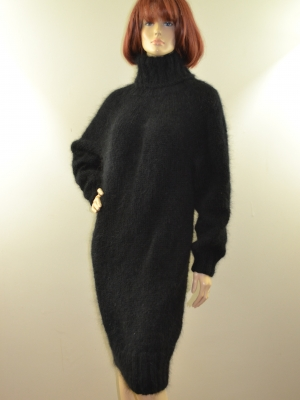 Black mohair sweater dress