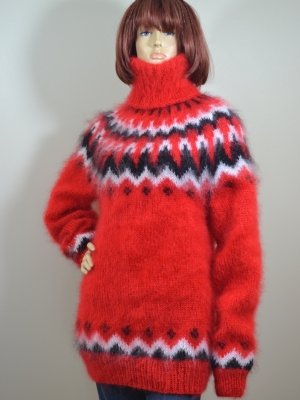 Mohair hand knitted Icelandic turtleneck sweater hot red