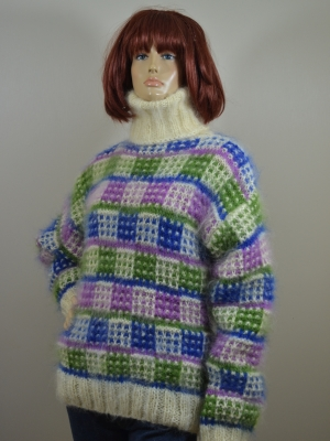 Mohair hand knitted turtleneck multi- color sweater M-L
