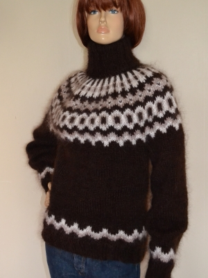 Icelandic mohair and wool turtleneck sweater chocolate