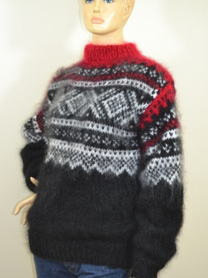 Norwegian hand knitted mohair sweater black--M