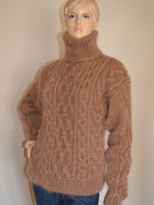 Mohair Aran hand knitted sweater- brown-L