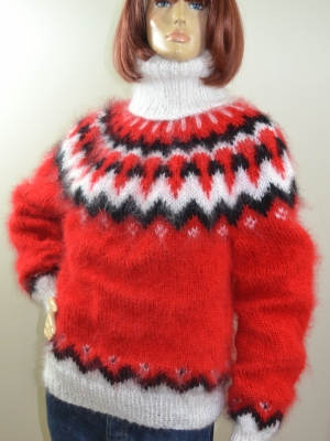 Dropar Hand knitted mohair turtleneck sweater hot red