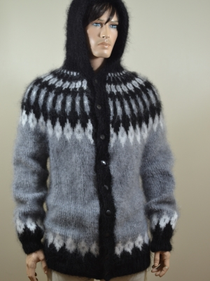 Mohair hand knitted Icelandic longhair hooded cardigan grey -uni