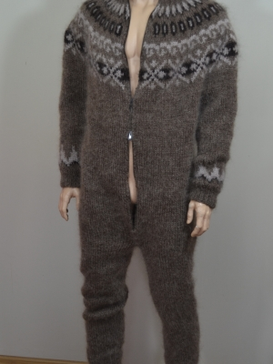 Mohair mens Icelandic jumpsuit with double opening zipper, hood,