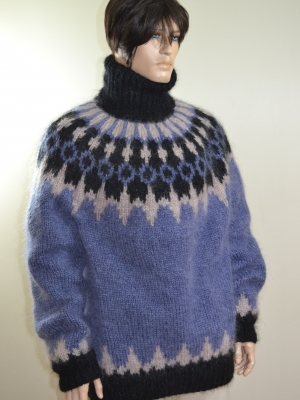 Heavy Icelandic mohair sweater-jeans blue- XL
