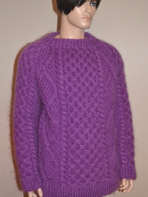 Hand knitted thick Aran mohair crewneck sweater - purple-XXL