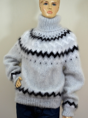 Hand knitted Katia INGENUA mohair sweater light grey