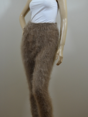 Mohair hand knitted pants with feet brown