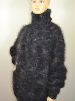 Hand knitted mohair turtleneck sweater black with shades-unisex