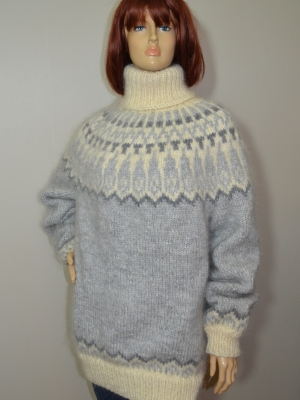 Hunky mohair and wool turtleneck Icelandic sweater light grey