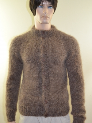 Brown mens mohair cardigan