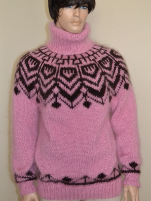 Icelandic mohair turtleneck sweater  pink