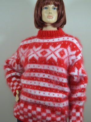 Norwegian mohair sweater -hot red -L