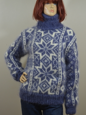 Hand knitted Fair Isle mohair sweater jeans blue  - M