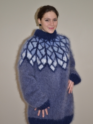 Hand knitted Icelandic mohair crewneck sweater - jeans blue-XL u