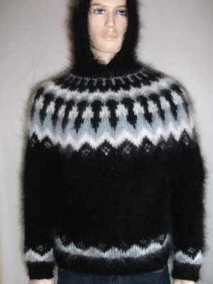 Icelandic mohair hooded sweater black -L