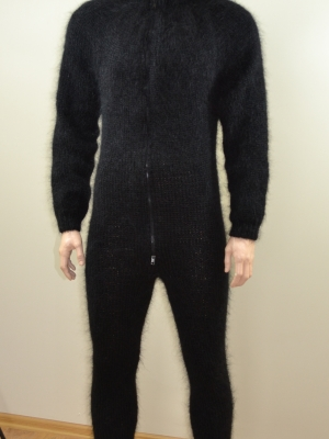 Black mens mohair bodysuit with feet , separate turtleneck