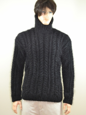 Aran hand knitted mohair turtleneck sweater black -L