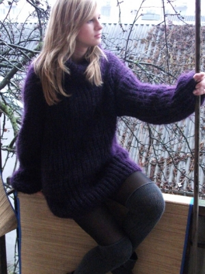 Mohair Turtleneck Sweater eggplant colour