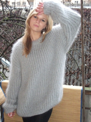 Mohair and wool crewneck sweater light grey -One size