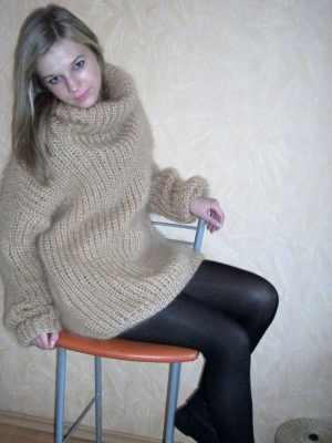 Mohair Turtleneck Sweater oversized beige