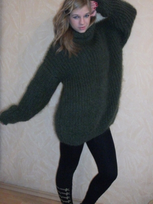 Mohair turtleneck sweater oversized -mossy green