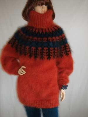 Icelandic mohair sweater bright orange- One size