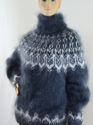 Icelandic turtleneck mohair sweater graphite gray unisex -L-XL