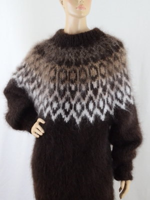 ARNI mohair crewneck sweaterdress brown,unisex-XL-XXL