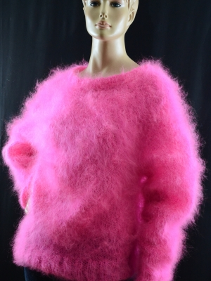 Brand new hand knitted thin mohair crewneck sweater neon pink -