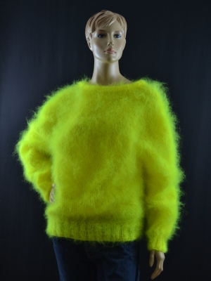 Brand new hand knitted thin mohair crewneck sweater neon yellow