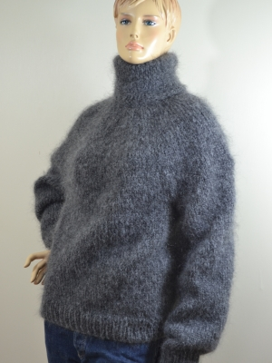 Dark grey mohair polo sweater