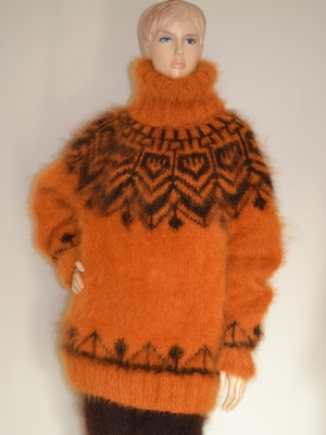 Icelandic turtleneck mohair sweater mustard- One size